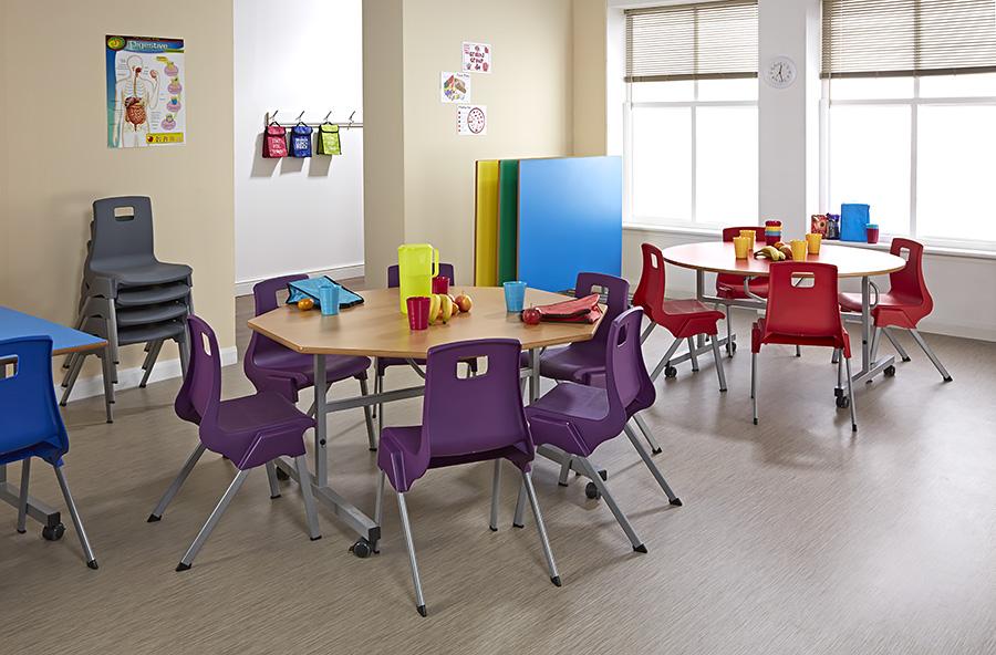 Tilt Top School Dining Table Octagonal