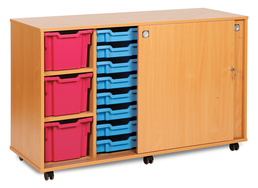 Sliding Door School Tray Storage Unit