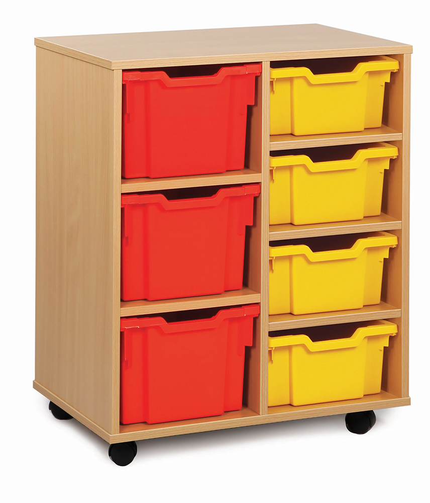 Variety Tray Classroom Storage Unit 4 Deep 3 Extra Deep Trays