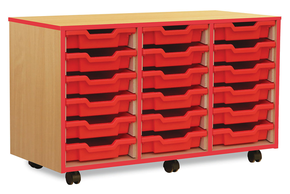 Coloured Edge Classroom Storage Unit Shallow Tray