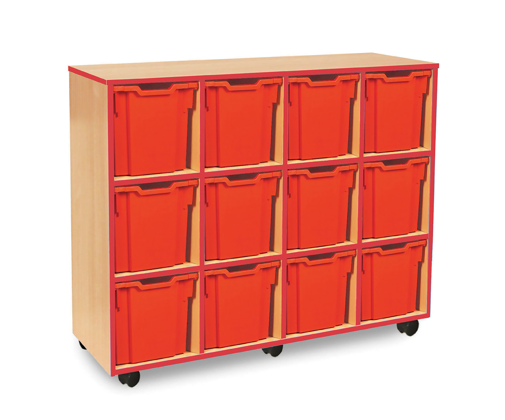 Coloured Edge Classroom Storage Unit Jumbo Tray