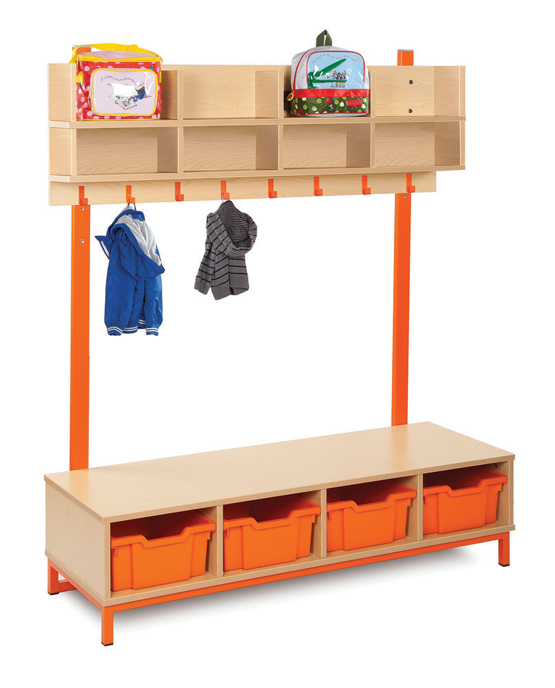 Bubblegum Cloakroom Storage With Coat Hooks and Trays