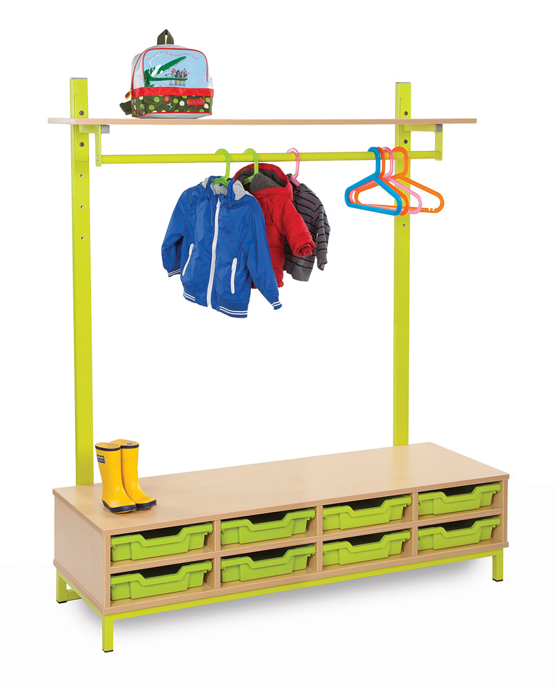 Bubblegum Cloakroom Bench With Coat Rail and Trays