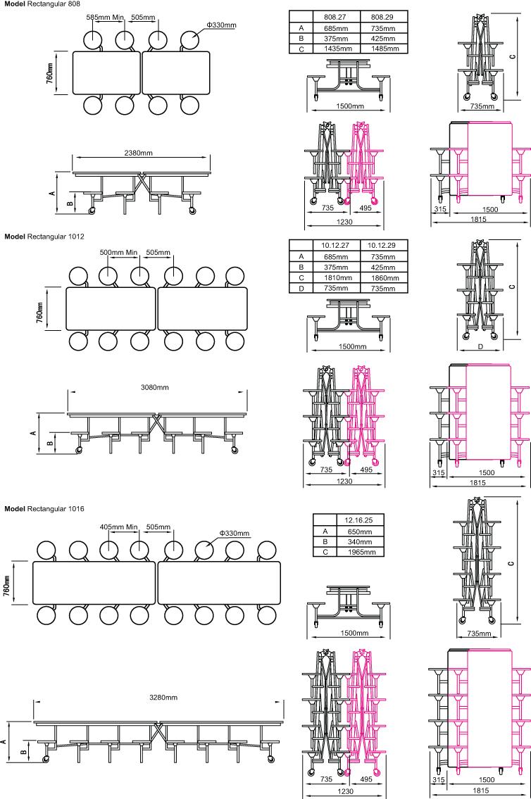 Rectangular Mobile Folding Table Seating Unit
