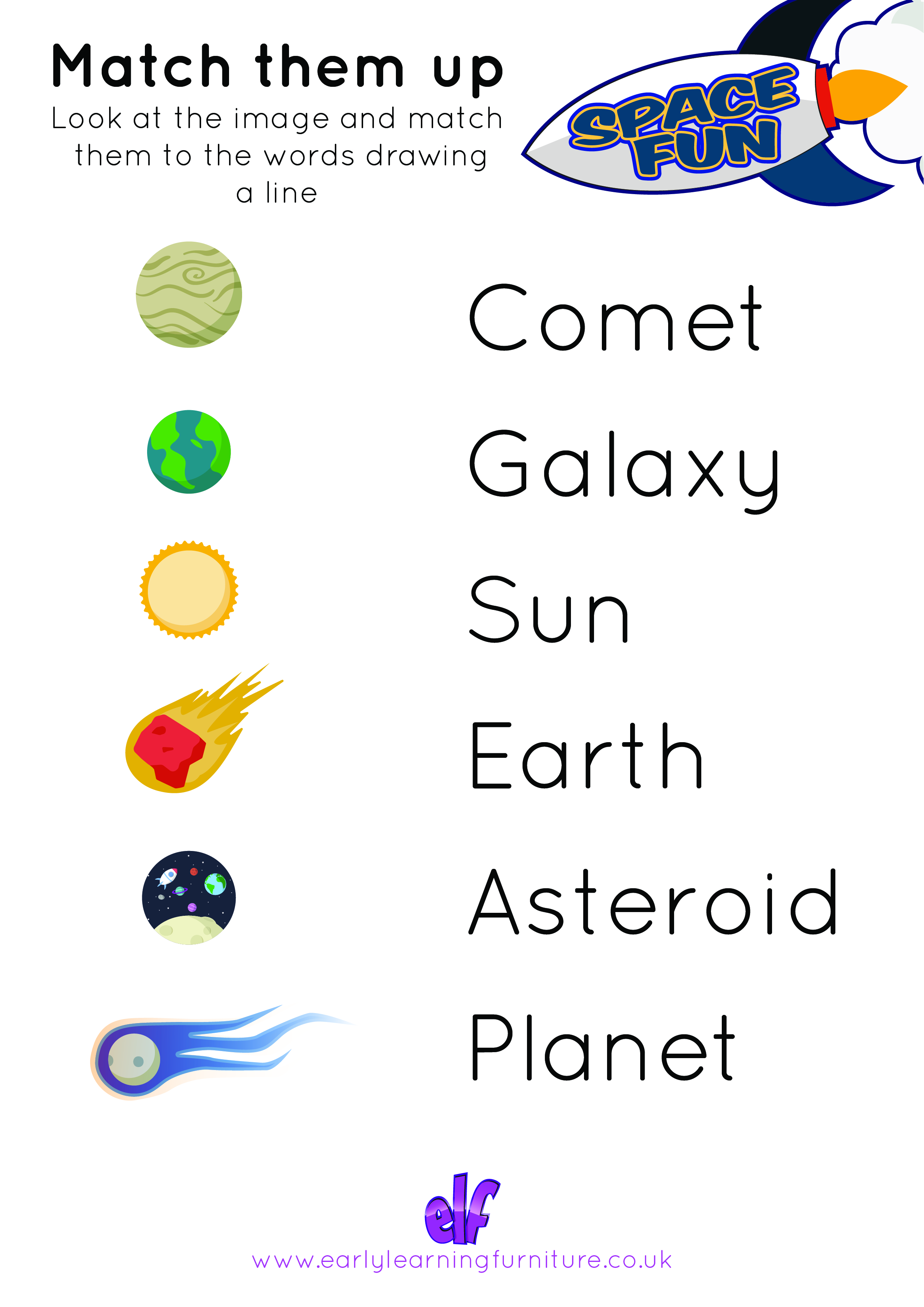 Space Themed Worksheet Match Them Up