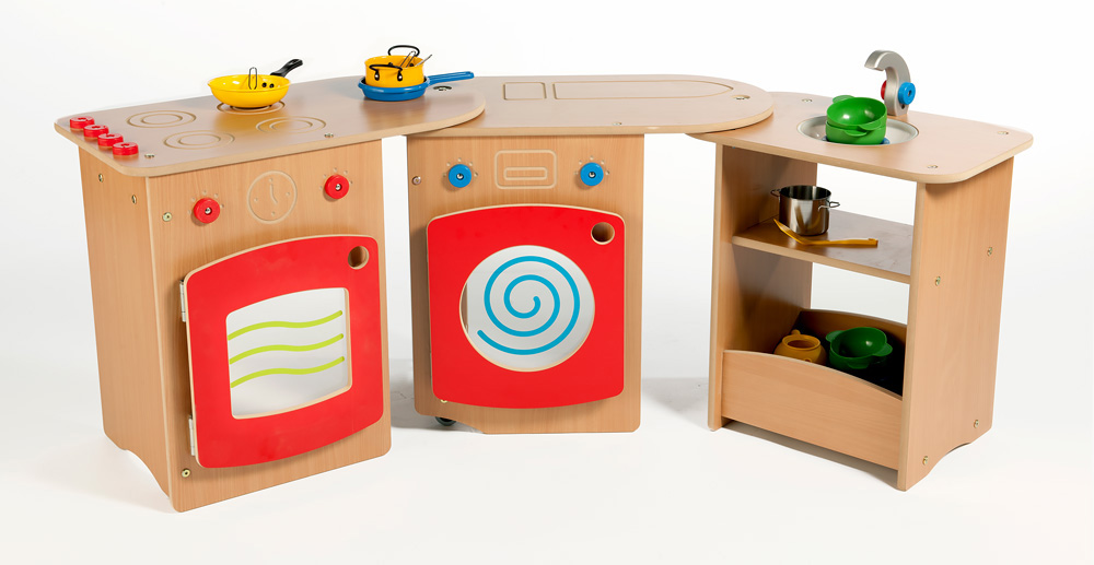 Roll Unfold Wooden Play Kitchen