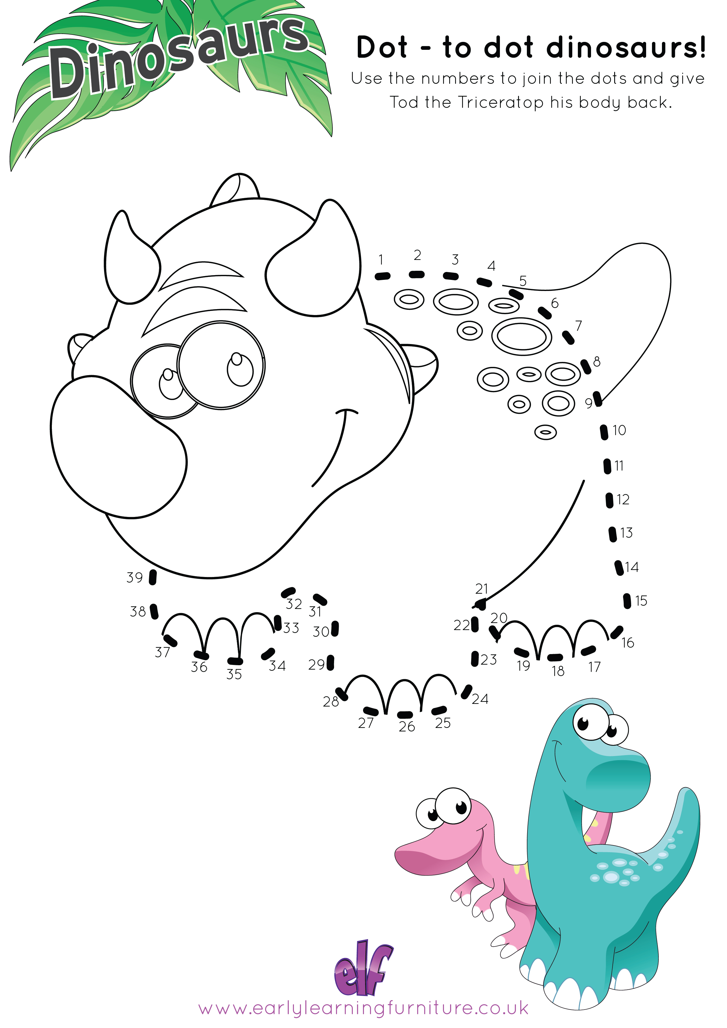 Free Teaching Resources Dinosaur- Dot To Dot
