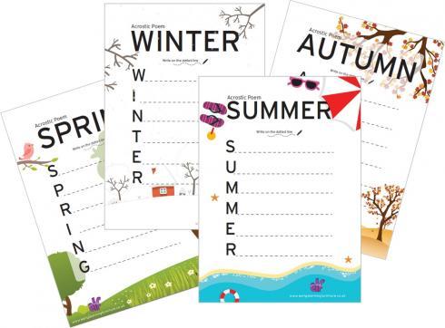 Acrostic Poem Templates for Children - Seasons