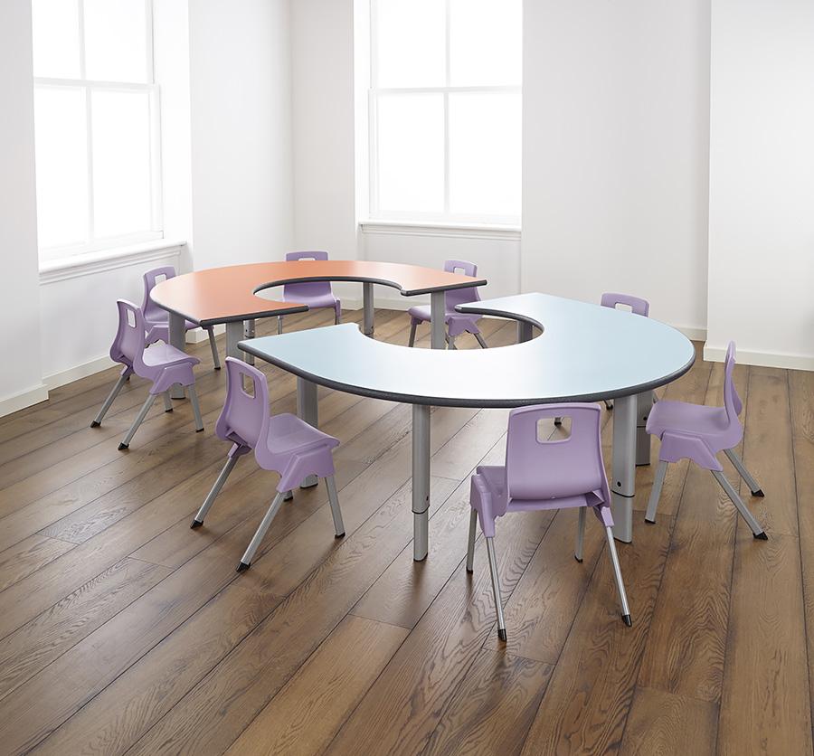 Height Adjustable Classroom Rainbow Table
