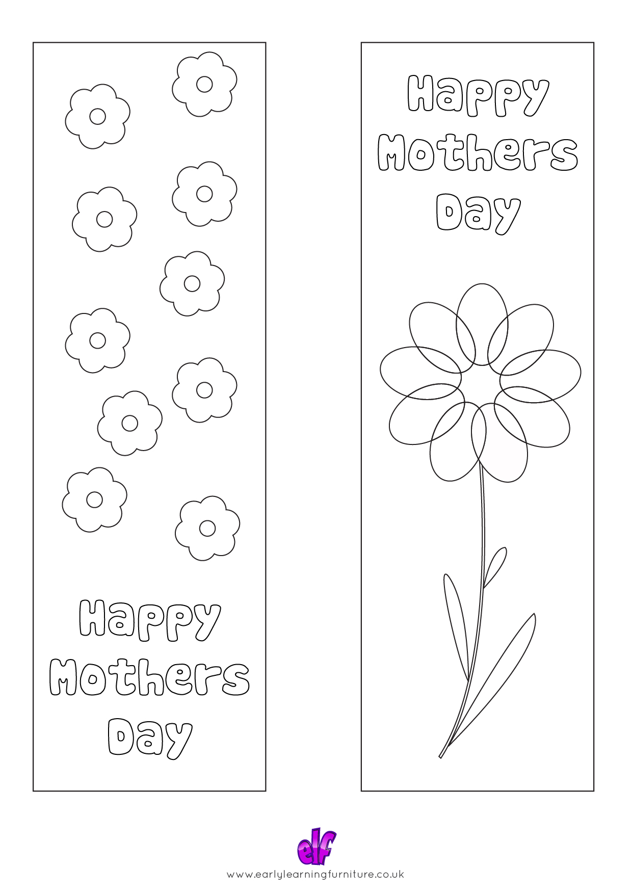 Free Teaching Resources Mothers Day- Happy Mothers Day Colour In Bookmarks