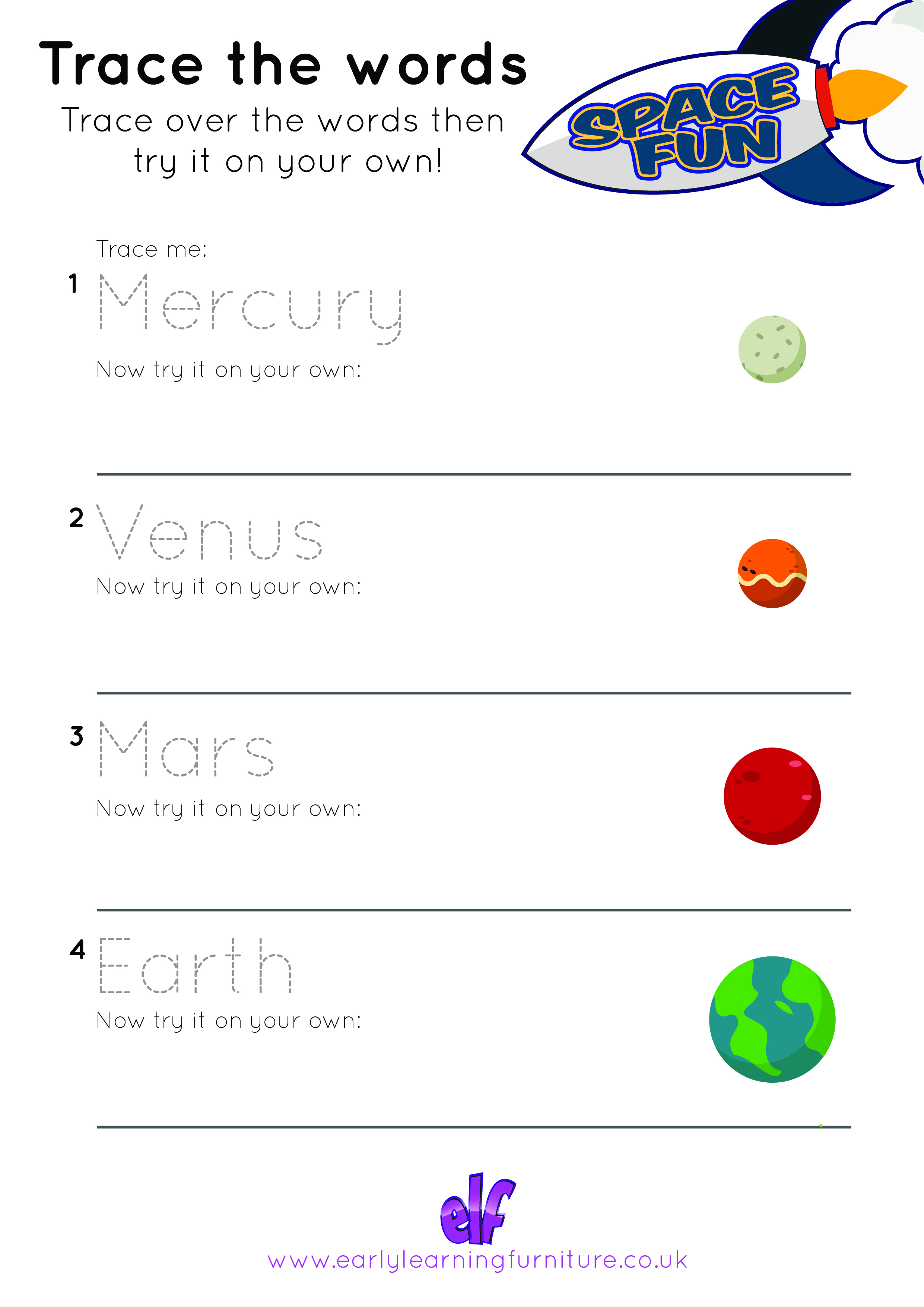 Space Themed Worksheet Trace The Words