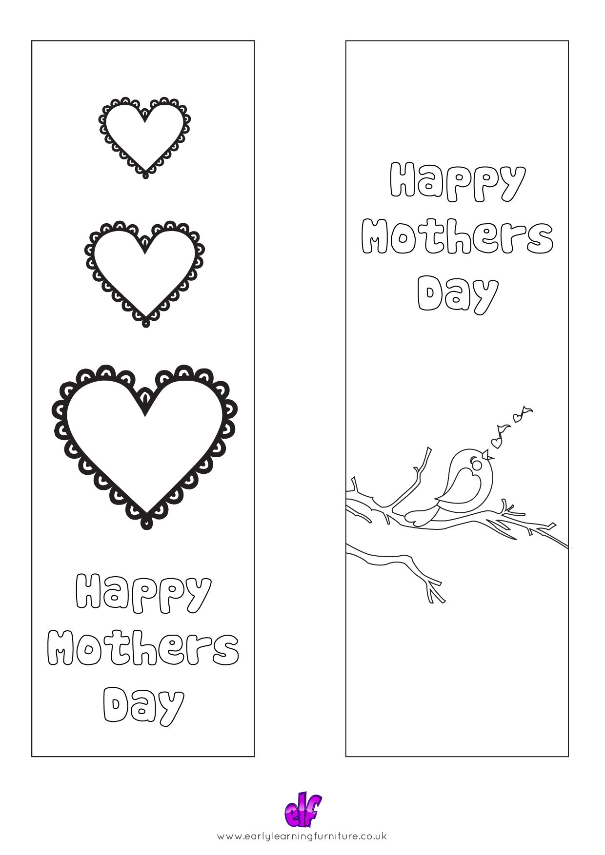 Free Teaching Resources Mothers Day- Happy Mothers Day Colour In Bookmarks 2