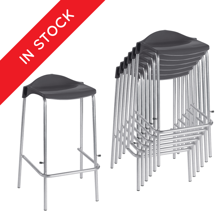 In Stock WSM Classroom Stool in Charcoal Pack of 6