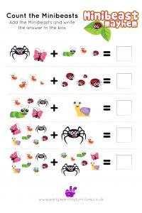 Minibeasts - Counting Worksheet