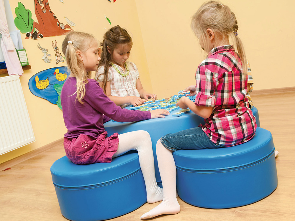 Childrens Play Furniture Soft Seating Table & Stool Set